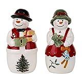 Spode Christmas Tree Mr. & Mrs. Snowman Salt & Pepper Set
