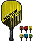 GAMMA Sports 2.0 Micron Pickleball Paddle: Mens and Womens Textured Fiberglass Face Pickle-Ball Racquet - Indoor and Outdoor Racket: Yellow, ~7.9 oz