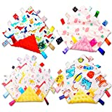 Baby Security Blankets for Boys Girls Unisex with Tag, Baby Soothing Towel Crinkle Square Sensory Toys, for 3 6 9 12 Months Babies Newborn Infant Toddler Boys Girls (4 Pack)
