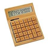 Calculadora - Calculadora de pantalla LCD de 12 dígitos y 29 teclas Calculadora solar de bambú,...