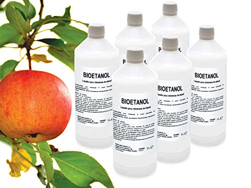 Caja 6 Botellas de 1 litro de Bioetanol FIRSTLINE aroma Manzana