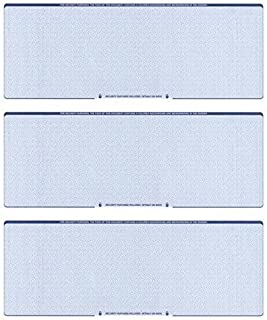 Blank Checks Paper Stock-Checks 3 On A Page-100 Per Pack (Blue Diamond)