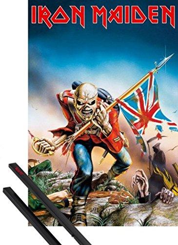 1art1 Iron Maiden Póster (91x61 cm) Eddie The Trooper Y 1 Lote De 2 Varillas Negras