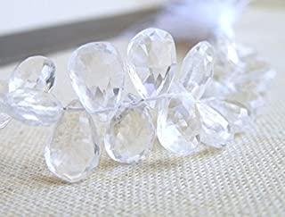 Cristal de roca Cuarzo Gemas Briolette pera facetado lágrima 10,5A 11mm perlas de 9