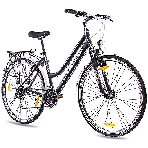 CHRISSON 28 Zoll City Bike Damenrad INTOURI mit 24G ACERA schwarz matt Gabel: Zoom