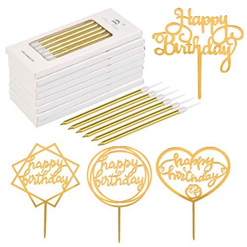 WOWOSS 8 Cajas Velas de Torta de Cumpleaños Doradas Largas y 4 Cupcake Toppers de Acrílico para Decorar Pastel De Cumpleaños (Oro)