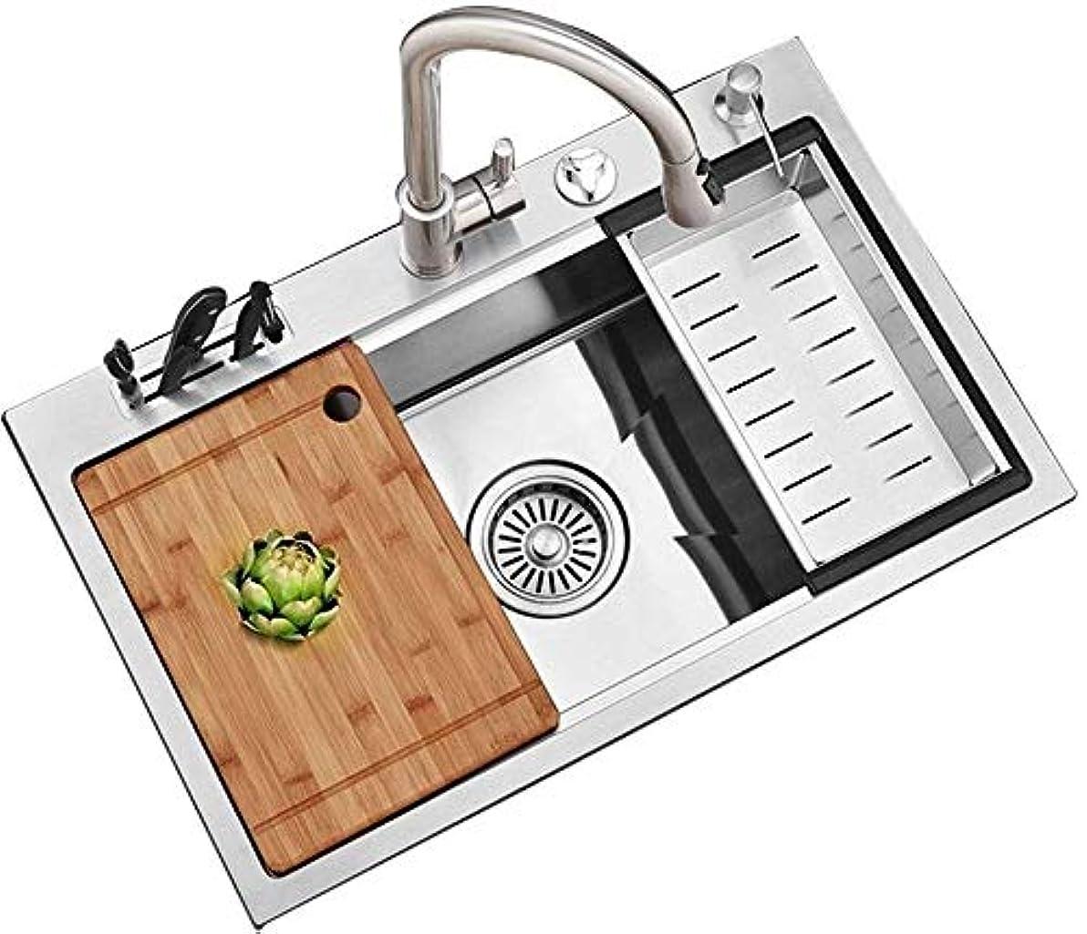 キャンペーンアッティカス薄いです台所の流し、304ステンレス鋼の手動流し大型シングルスロット厚手流し家庭は錆びない、silver75 × 47cm