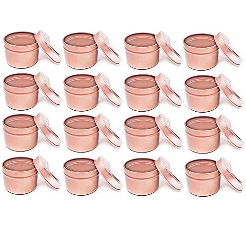 Metall-Kerzendose, 16 Stück, 113 g, Kerzenglasbehälter mit Deckel für selbstgemachte Kerzenherstellung, Rotgold