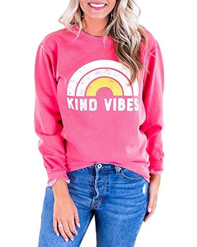 Womens Crewneck Sweatshirts Kind Vibes Funny Rainbow Graphic Long Sleeve Pullovers Tops