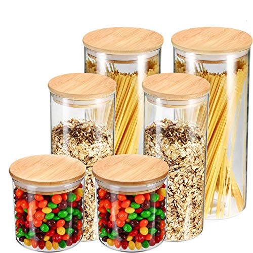 YULEER Airtight Food Storage Container, Glass Jars with Lids, Glass Jar for Serving Candy, Cookie, Rice, Food - Set of 6