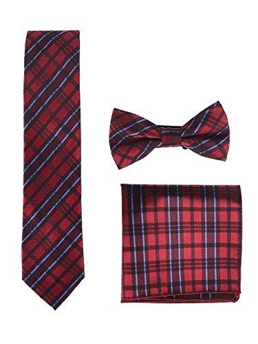 Hombre Pajarita Corbata Pañuelo de Bolsillo 3 en 1 Set - Pajarita Clásica 6*12 cm & Corbata Estrecha 6 cm & Pañuelo Cuadros Rojo Azul Rojo Oscuro