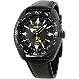 Seiko Black Dial Stainless Steel Leather Quartz Men's Watch SUN057