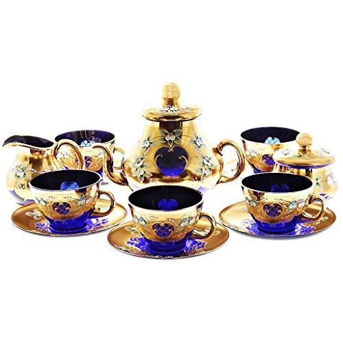 Ekskluzywny serwis do kawy Blue Queen 15-częściowy niebieski złoty 6 filiżanek + 6 spodków + 1 dzbanek + 1 dzbanek na mleko + 1 cukiernica dmuchana ustami i ręcznie malowana
