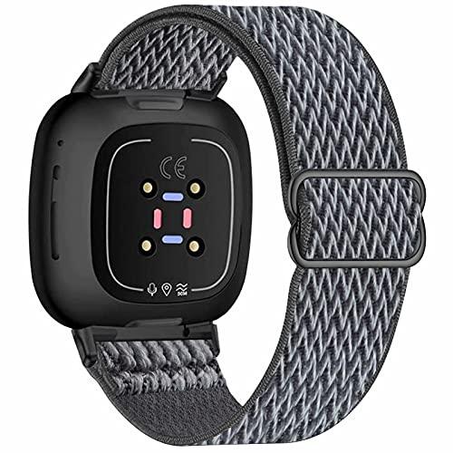 Fengyiyuda Correa Compatible con correa Fitbit Versa 3/correa Fitbit Sense,correas de repuesto de nailon tejido transpirable Compatible con Fitbit Sense / Versa 3 para mujeres y hombres,Storm Gray