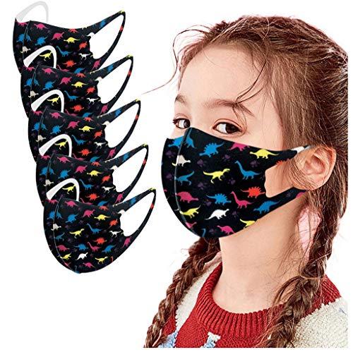 Blingko 5 Stück Mundschutz mit Motiv Waschbar Lustige 3D Muster Sommer Bandanas Multifunktionstuch Atmungsaktive Wiederverwendbar für Kinder Jungen und Mädchen (A, 5pcs)