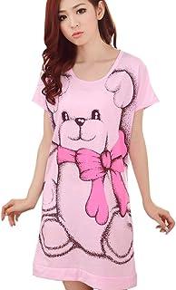 Women's Short Sleeve Loose Nightgowns Girls' Cute Bear Night Dress Skirt Size XL (Light Grey)