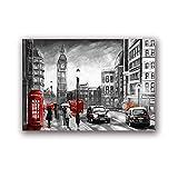 zuomo Pintura de Paisaje de la Calle de Londres Impresión de Lienzo Pareja romántica y Paraguas Rojo Obra de Arte Póster de Imagen Decoración de Pared para el hogar 50x70cm Sin Marco