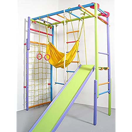 Wooden Indoor Foldable Climbing Playset   Playground for Kids   Gym Sets Up with Hammock Climbing Ladder Swing Slide and Rings (Colored)