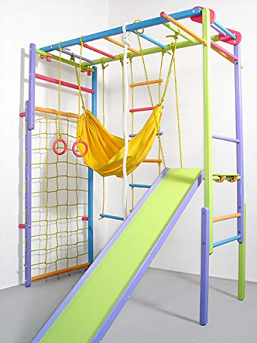 Wooden Indoor Foldable Climbing Playset | Playground for Kids | Gym Sets Up with Hammock Climbing Ladder Swing Slide and Rings (Colored)