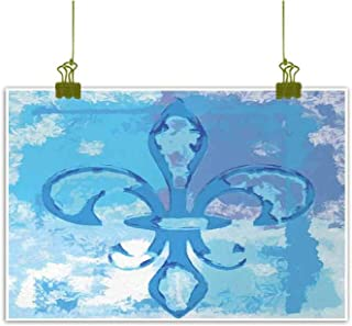 Mannwarehouse Fleur De Lis Living Room Decorative Painting Illustration of Lily Flower Like Frozen Heredic Nobility Emblem Queenly Style Print Modern Minimalist Atmosphere 20
