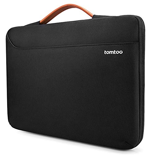 tomtoc Laptop Aktentasche Hülle für 15 16-Zoll MacBook Pro A2141 A1398, Dell XPS 15, Surface Book 3/2 15, The New Razer Blade 15, ThinkPad X1 Extreme Gen 2 15, Nootbook Schutzhülle Tasche, Schwarz