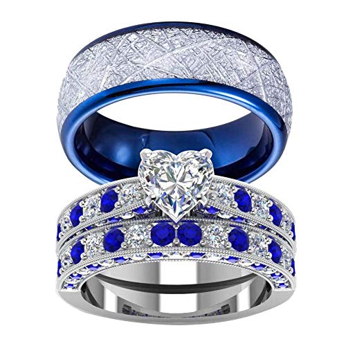 wedding ring set Two Rings His Hers Couples Matching Rings Women's 2pc White Gold Filled Heart CZ Wedding Engagement Ring Bridal Sets Men's Stainless Steel Wedding Band