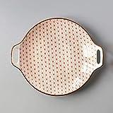 KANJJ-YU Porzellan-Set, kreatives Doppel-Ohr-Teller, Keramik-Teller, Glasur, einfache Haushaltsgeschirr, 22,9 cm, Serviergeschirr, kompatibel mit Küchenzubehör