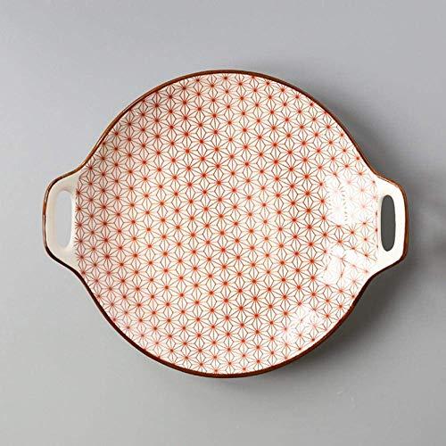 XUSHEN-HU - Juego de porcelana de cerámica, diseño de placa de cerámica, color simple para el hogar de 9 pulgadas, platos de servir platos de vajilla para suministros de cocina vintage