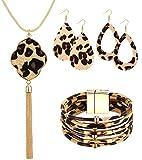 Sunmoon Statement Leopard Jewelry Set for Women Leopard Leather Bracelet Teardrop Drop Dangle Earrings Long Tassel Pendant Necklace Mother's Day Necklace Earrings Gift