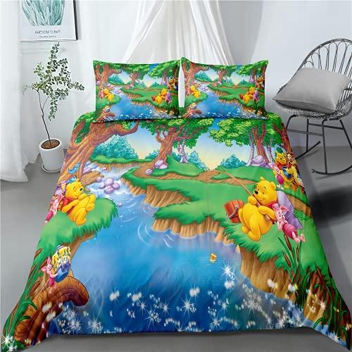 JXSMYT Juego de ropa de cama 3D de Disney Winnie The Pooh para niños, microfibra, funda nórdica y funda de almohada (WNX 11,155 x 220 cm + 1 x 50 x 75 cm)