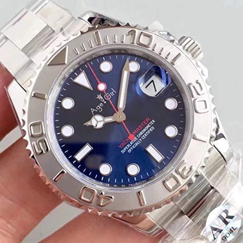 JFfactory Klassische Herren Automatik Mechanische Uhr Silber Schwarz Blau Grau Edelstahl Yachtuhren Master Saphirglas AAA + Blau