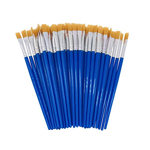SUNKISTY Children's Art Paintbrushes, Little Painting Brushes with Plastic Handle for Kids Blue (Blue 100PCS)