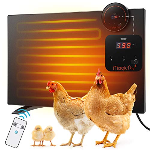 Magicfly Chicken Coop Heater, Large Chicken Panel Heater 165 Watts with Led Display and Temperature Adjustable with Remote Control Safer Than Brooder Lamps, Radiant Heater for Birds, Pet, 19.7x14''