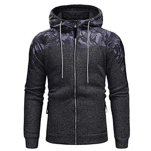 Herren Reißverschluss Hoodie Sportswear Top Hoodie Einfarbige Sport Hooded...