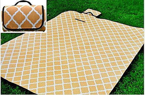 X-Labor Waschbar Baumwolle Leinen Picknick Decke 200x150 cm XXL mit wasserdichter PEVA Unterseite Wärmeisoliert Stranddecke Campingdecke Gelb Welle