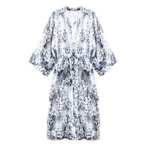 Kimono de mujer Bata de gasa Chaqueta de Kimono Largo para la...
