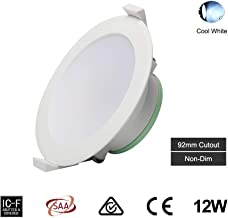 12W LED Ceiling Light LED Recessed Downlight Kit 92mm Cutout Recessed Light IP44 950lm 5700K Cool White Non-Dim,Flush Moun...