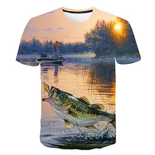 HYTR 3D Camisetas Camiseta para Hombre HD Digital Casual 3D Camiseta con Estampado De Pescado Camiseta para Hombre Camiseta con Cuello Redondo Camiseta Divertida De Pesca4XL
