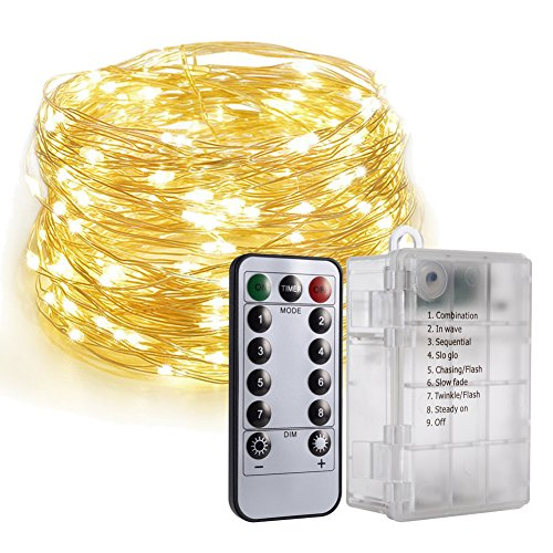 Cadena de luces LED con mando a distancia, 10 m, 100 ledes, impermeable, 6 pilas AA alimentadas con 8 modos de parpadeo y mando a distancia para bodas, fiestas, decoración al aire libre, blanco cáli