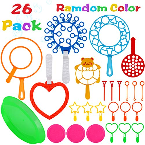 Aitey Bubble Wands Set, 26 Pack Giant Bubble Wands Toy Set Large Bubble Wands with Tray Bulk for Kids Summer Outdoor Activity Party Favors