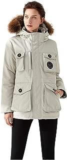 Doric Womens Down Jacket,Ladies Winter Fur Collar Hooded Parka Coat Multi-Pocket Function Camouflage Warm Outwear