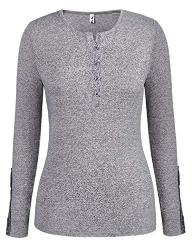 Abollria Damen Pullover Langarm Sweatshirt Basic Dünner Pulli Rundhals mit Knopfleiste Spitze Ärmel