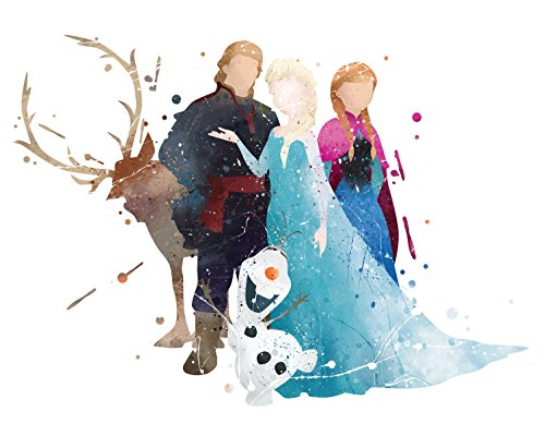 8x10 P16 Frozen Poster.Inspired Watercolor Art Print.Disney Frozen Poster.Princess Wall Art.Elsa,Anna Art Posters.Girls Room Wall Art.Kids Art.Birthday Gift