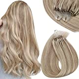 Sunny Micro Loop Ring Remy Hair Extensions Human Hair Blonde Highlights Ash Blonde and Bleach Blonde Balayage Human Hair Extensions Micro Bead Hair Extensions 1g/s 50g/pack 18inch