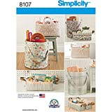 Simplicity 8107 Home Décor Organization Storage Bucket and Tote Bag Sewing Pattern, S-L Containers
