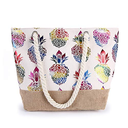 GINBL Large Canvas Pineapple Tote Bag with Zipper for Women Travel Shopping Rope Handle Beach Handbag