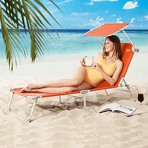 CASARIA Silla Larga Ibiza Plegable con Visera de poliéster Color Naranja fácil de Transportar Playa Exterior jardín