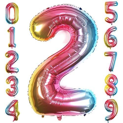 40 pouces Ballon Géant Arc-en-Ciel Numéro, 0 1 2 3 4 5 6 7 8 9 Numero Ballon Age Gonflable Anniversaire, Chiffre 2