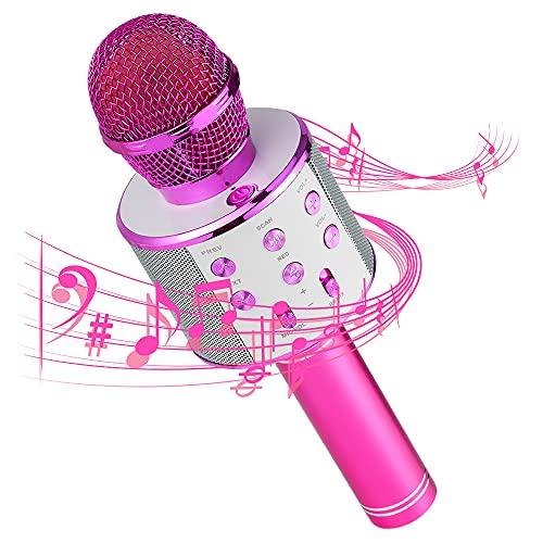 Micrófono Inalámbrico Bluetooth,Micrófono Karaoke Bluetooth,Portátil Inalámbrica Micrófono y Altavoz del Karaoke con LED para...