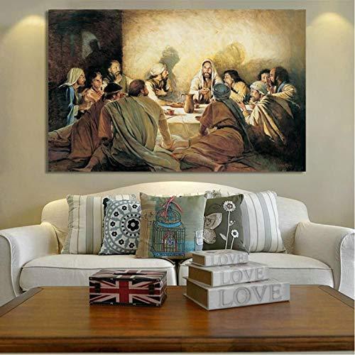 TBWPTS Canvas Schilderij Klassieke Posters Prints Wall Art Canvas Schilderij Jezus in het laatste diner Decoratief schilderij voor woonkamer Home Decor